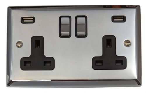 G&H SC3910 Spectrum Plate Polished Chrome 2 Gang Double 13A Switched Plug Socket 2.1A USB